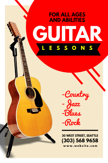 Guitar Lessons Template Postermywall