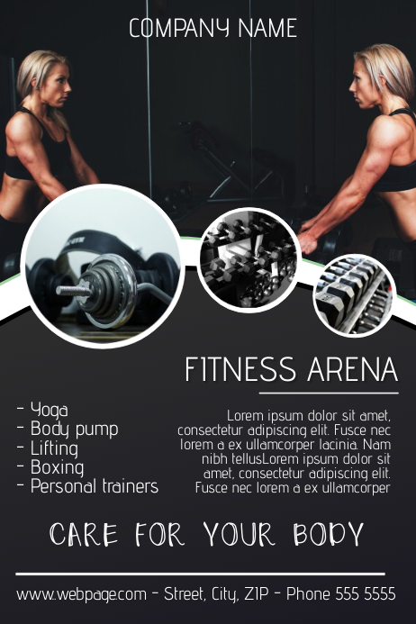 gym fitness flyer template postermywall. Black Bedroom Furniture Sets. Home Design Ideas