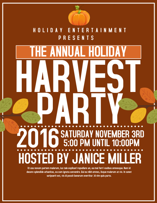 Harvest Party template | PosterMyWall