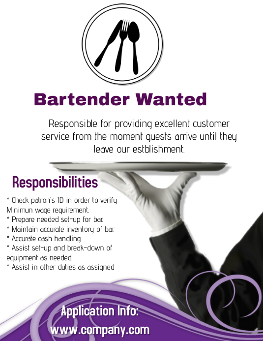 Hiring bartender template postermywall for Bartender schedule template