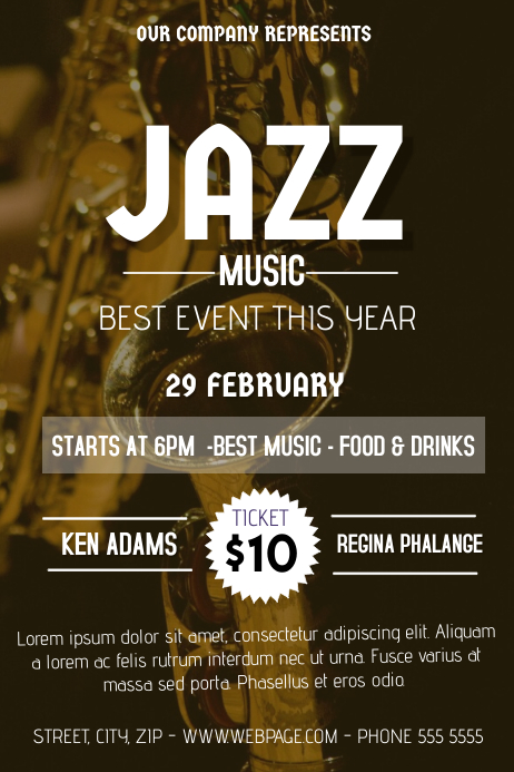 jazz music flyer template postermywall. Black Bedroom Furniture Sets. Home Design Ideas