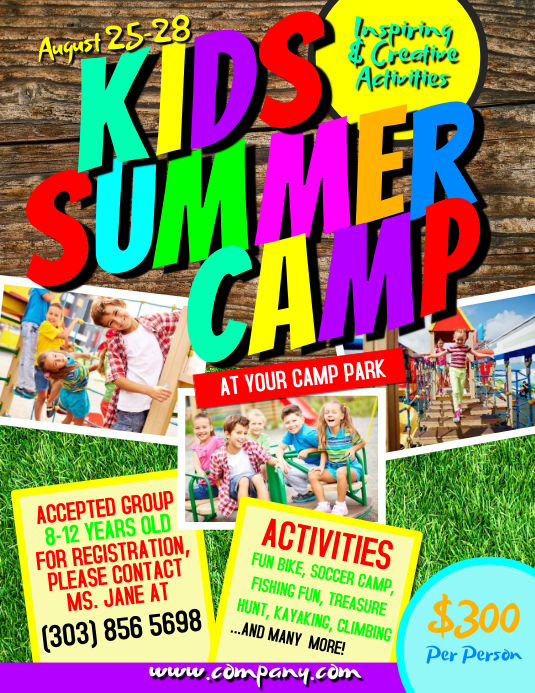 Kids summer camp flyer template postermywall for Camp brochure template
