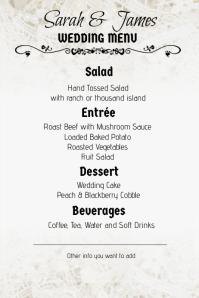 lace wedding menu portrait