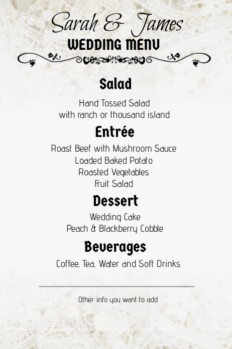 lace wedding menu portrait template postermywall