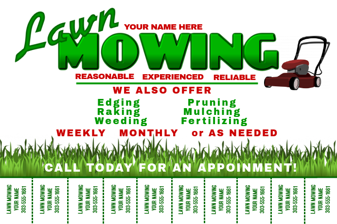 Lawn mowing template postermywall for Lawn maintenance service