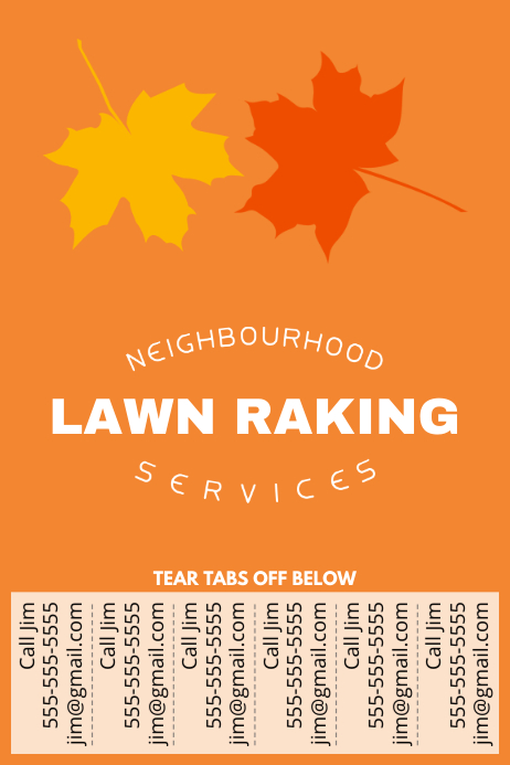 lawn raking poster with tear off tabs template postermywall. Black Bedroom Furniture Sets. Home Design Ideas