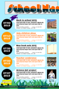 Monthly calendar for school, association and organization events