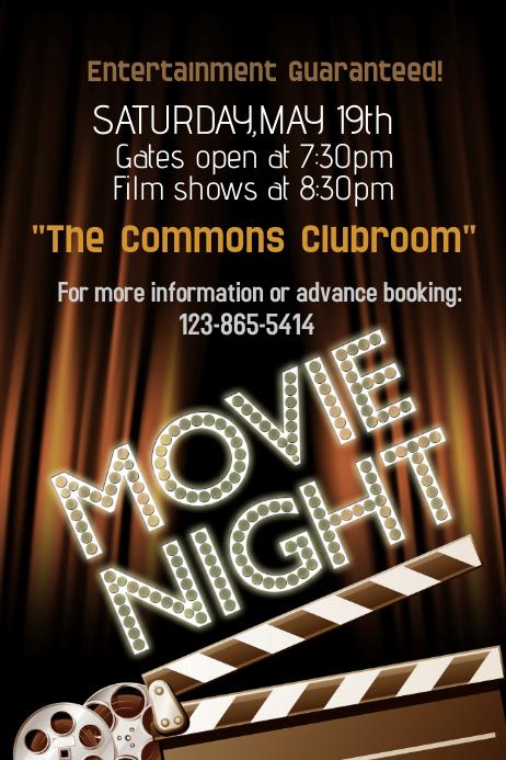 Family Movie Night Flyer Movie night poster template