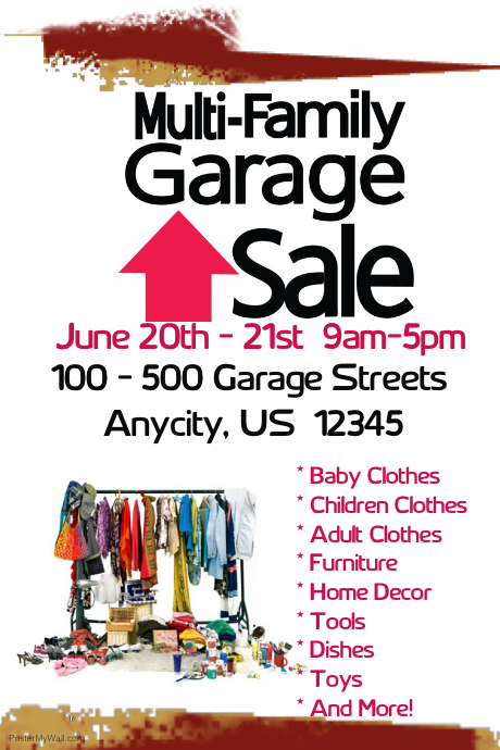 Postermywall Multi Family Garage Sale Flyer