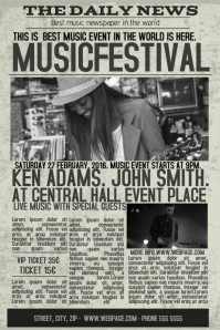 old newspaper concert event flyer template newsletter