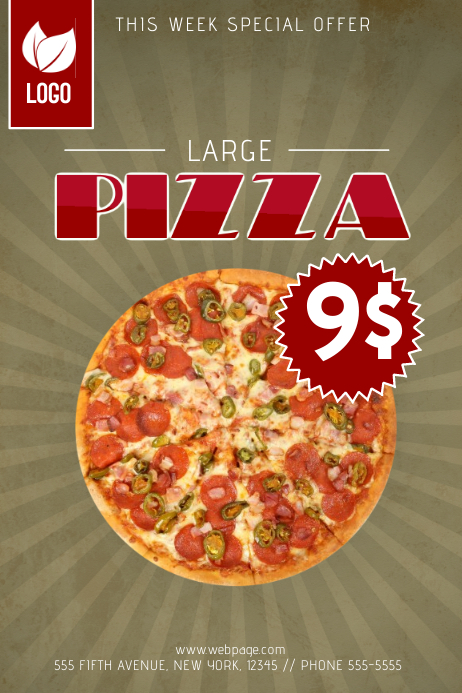 Pizza promotional sale flyer tempatlate for one pizza for Pizza sale flyer template