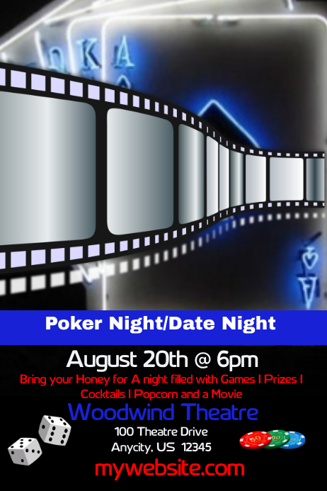poker night date night and movie flyer template postermywall