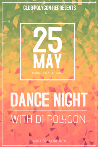 polygon club poster template landscape dance night