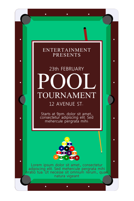 Pool tournament poster template postermywall for Pool design templates