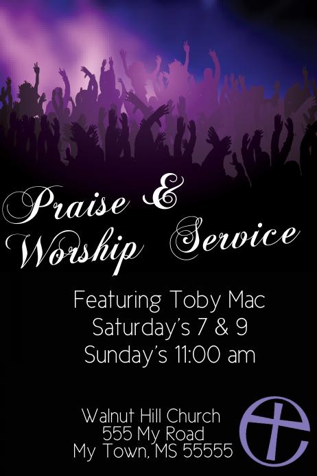 worship schedule template - praise worship church service music concert event flyer