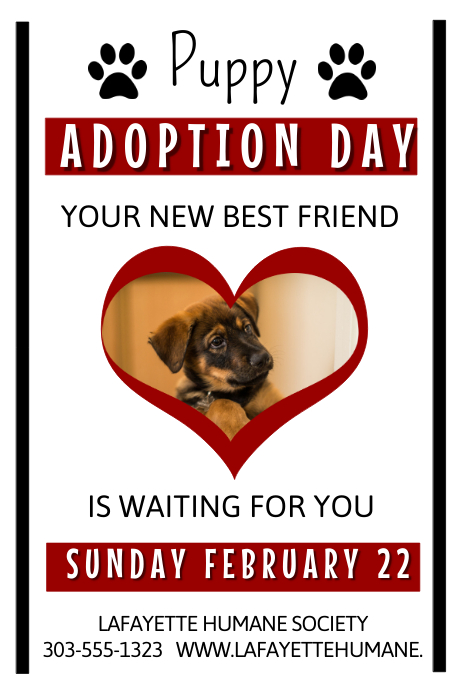 Adoption event template postermywall for Dog adoption flyer template
