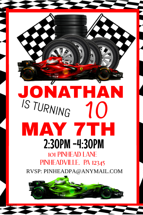 racing birthday invitation party template