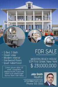 real estate flyer template blue