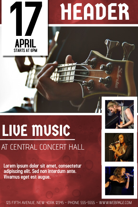 Red Guitar Concert with Pictures Flyer Template