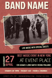 red indie band concert event flyer template with picture