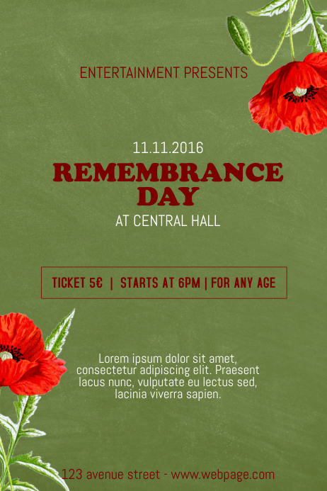 Remembrance Day Flyer Template Postermywall