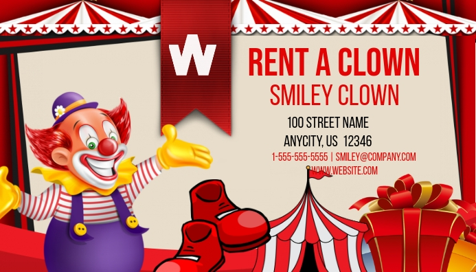 rent a clown business card template