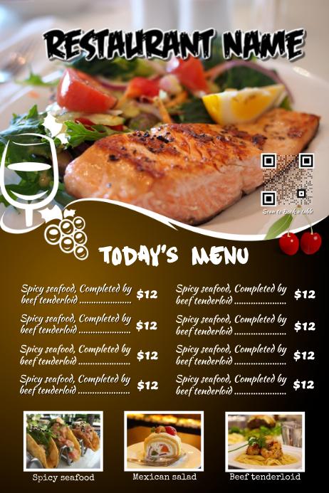 Restaurant menu flyer with a beautiful big image template for Big fish restaurant menu