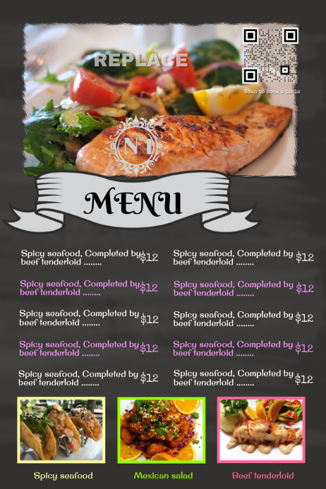 Postermywall Blackboard Restaurant Poster With A Big Customizable Image