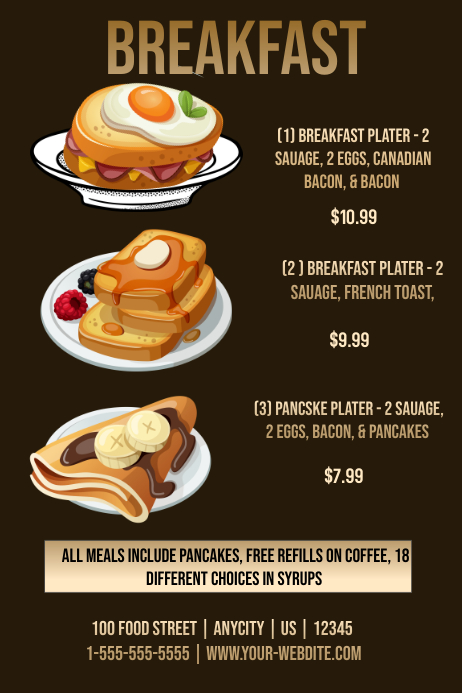 Restuarant Breakfast Menu Template Postermywall