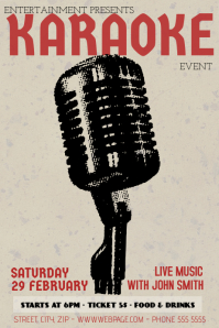 retro vintage 90s karaoke event party flyer template
