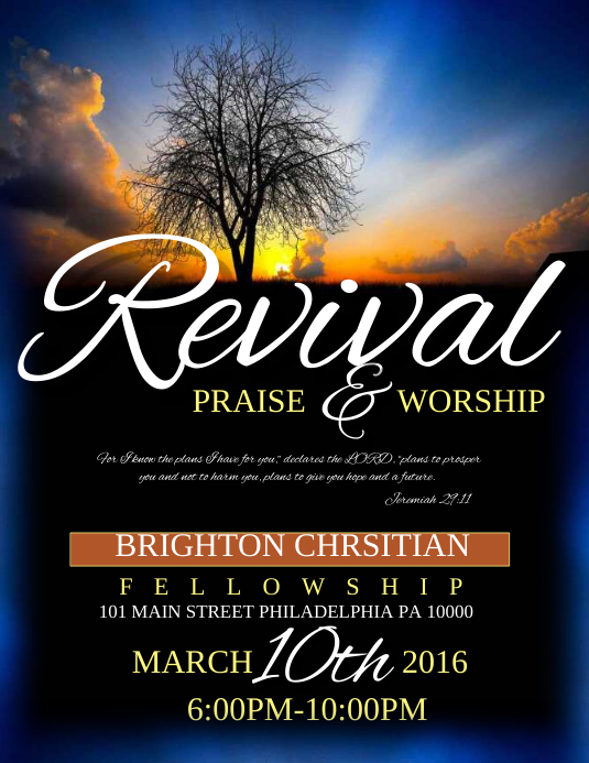 Revival template postermywall for Free church revival flyer template