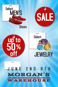 Blue with Tags Sale Ad Flyer Poster