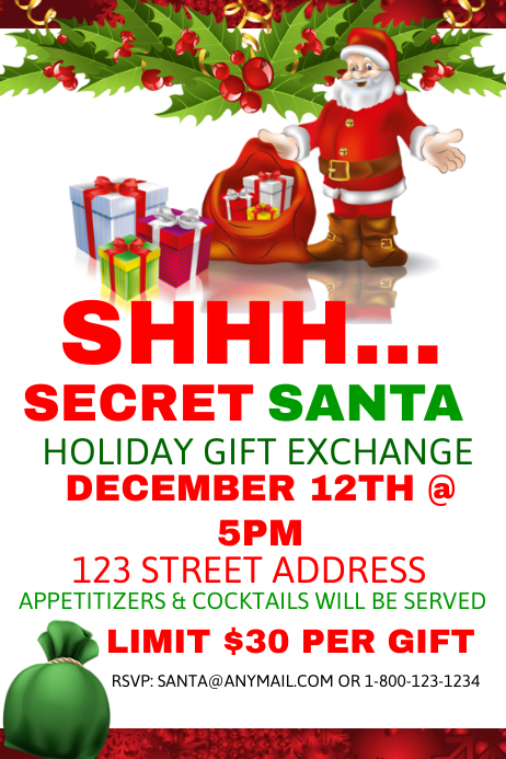 Secret santa holiday gift exchange postermywall for Secret santa email template
