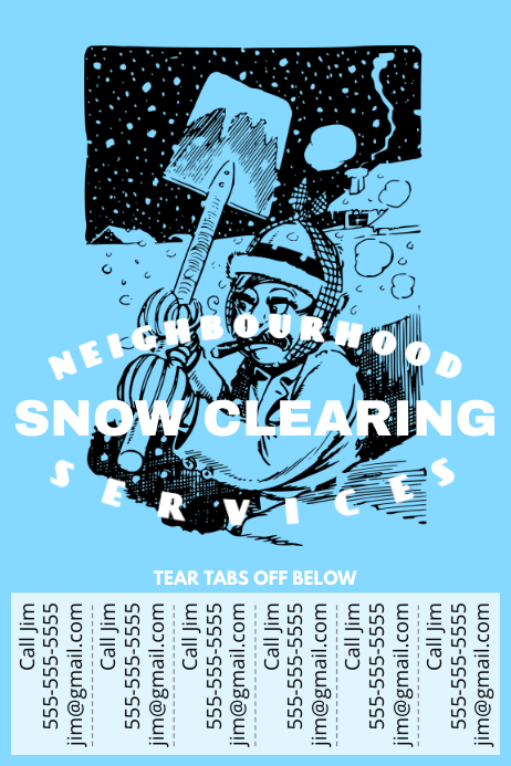 snow clearing with tear off tabs template