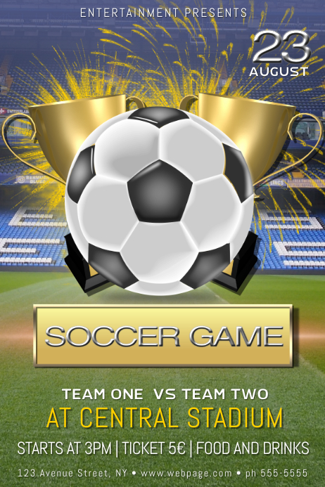 soccer football game tournament cup flyer template postermywall. Black Bedroom Furniture Sets. Home Design Ideas
