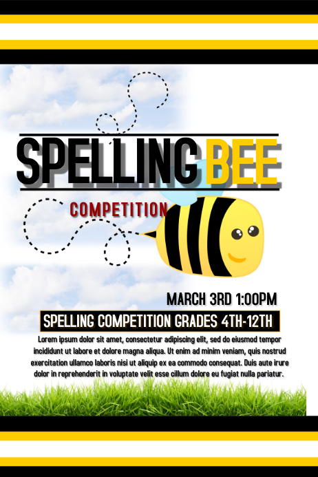 Spelling Bee Template Postermywall