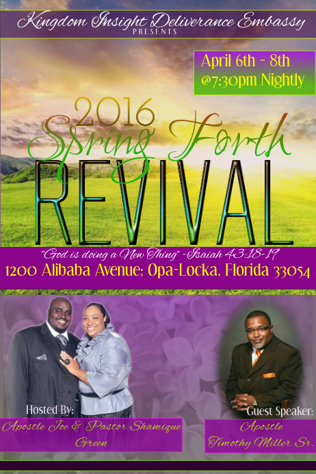 Spring forth revival flyer template postermywall for Free church revival flyer template