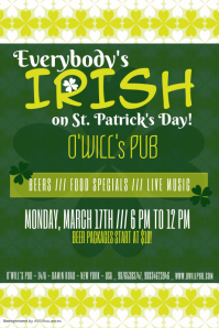 st patricks day pub flyer template
