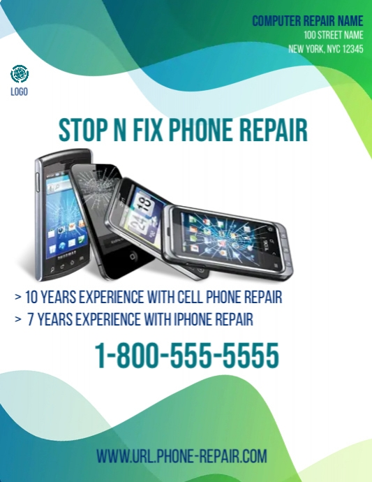 stop n fix phone repair template postermywall. Black Bedroom Furniture Sets. Home Design Ideas