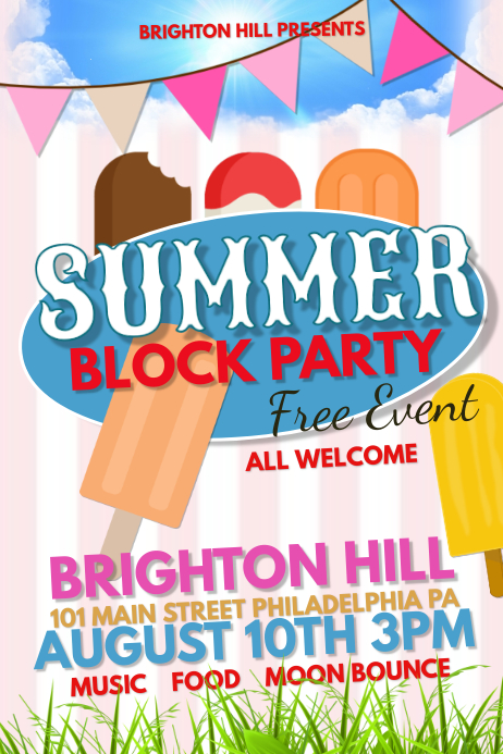 Summer block party template postermywall for Block party template flyers free