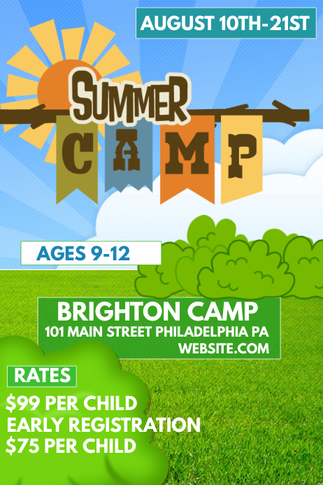 summer camp template postermywall. Black Bedroom Furniture Sets. Home Design Ideas