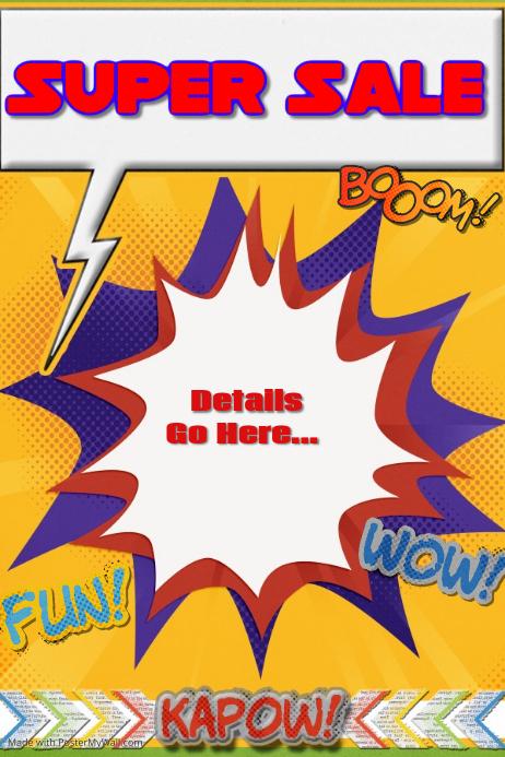 superhero comic sale party invitation camp poster template
