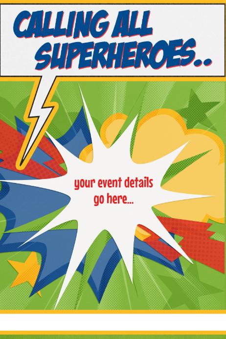 superhero hiring party birthday camp movie template