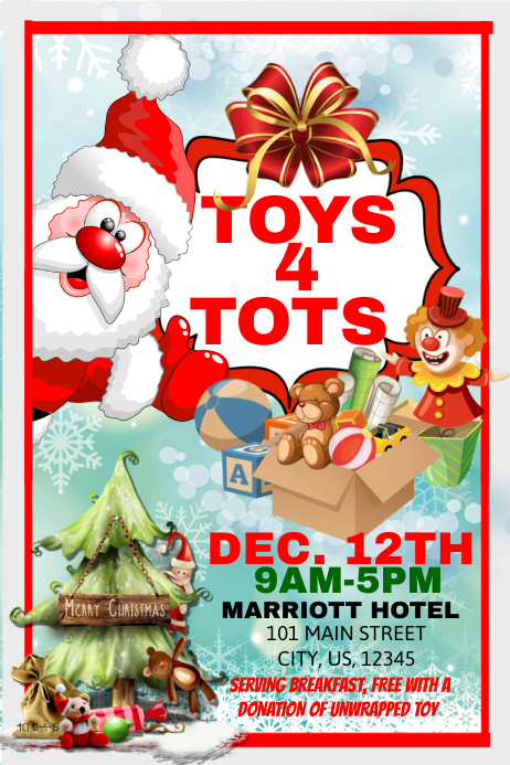 Toys For Tots Flyers Editable : Toy tots template postermywall