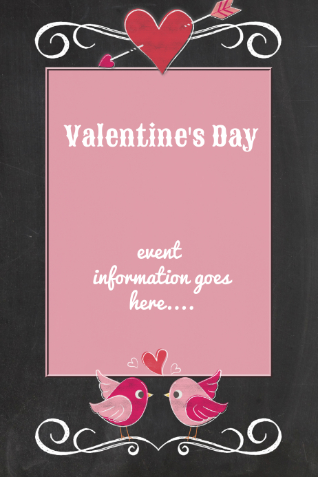Valentines heart chalkboard party menu dinner dance flyer for Valentines dinner party menu