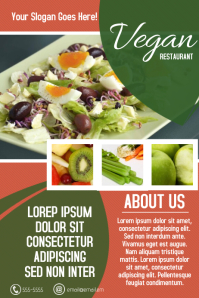 Vegan food restaurant poster flyer template