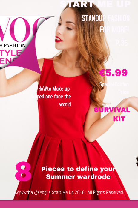vogue start me up fashion magazine cover template