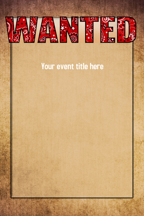 WANTED Western Wild West Poster Event Flyer Invitation ...