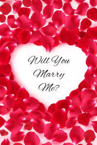 Will You Marry Me? Heart and Rose Petals