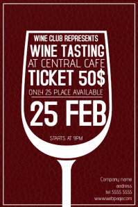 wine tasting poster template - dark red
